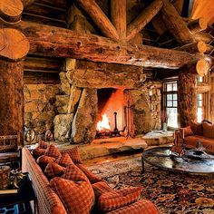 If Fred Flintstone owned a log home... #loghome #loghouse #logs #logcabin #cabin #stone #fireplace