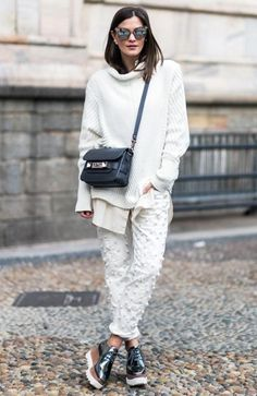 Look all white com flatforms metalizadas