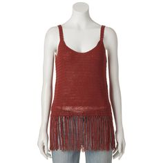 Juniors' Cloud Chaser Fringe Sweater Tank, Teens, Size: Medium, Brt Red