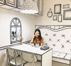 Coooool: Korean Cafe Designed To Look Like A Black And White Pen Drawing - Geekologie Best Interior Paint, Cafe Interior Design, Scandinavian Interior Design, Cafe Design, Interior Decorating, Minimalist Scandinavian, Shop Interiors, Rustic Interiors, Seoul Cafe