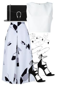 """Untitled #3887"" by amyn99 on Polyvore featuring Gucci, Alice + Olivia, Stuart Weitzman, TIBI and Amorium"