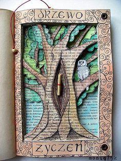altered book Tree of wish / Drzewo życzeń