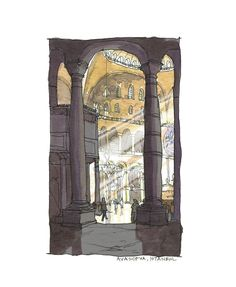 Aya Sofya Architectural sketch in watercolor and by doodlesbyken, $8.00