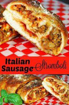 Italian Sausage Stromboli is part of pizza - You'll save money and time when you serve this Italian Sauasage Stromboli sure to turn a weekday meal into an Itlalian feast Italian Sausage Stromboli Recipe, Ground Italian Sausage Recipes, Italian Sausage Sandwich, Sausage Sandwiches, Italian Recipes, Stromboli Italian, Sausage Sandwich Recipes, Pizza Recipes, Easy Sausage Bread Recipe
