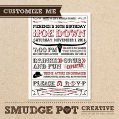 Western Hoe Down Invitation - Customizable Birthday or Special Event Invitation - Digital File for DIY Printing
