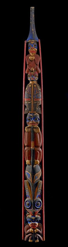 Post, totem pole (?) made of wood. Made by Northwest Coast people (?) The British Museum