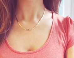 Hey, I found this really awesome Etsy listing at https://www.etsy.com/listing/191513731/gold-shimmer-necklace-simple-gold-coin