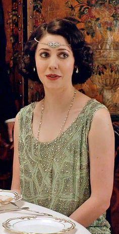 Lady Mabel's mint green dress on Downton Abbey Season 5 [1924] costume designer Anna Mary Scott Robbins.