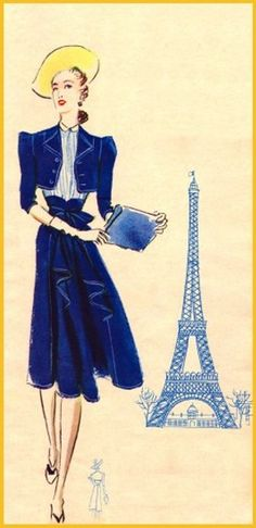 French fashion poster featuring The Eiffel Tower.
