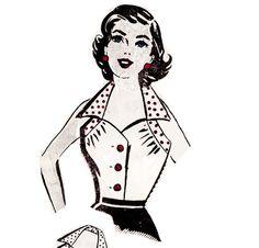 Vintage Sewing Pattern Ladies 1950's Halter Top Blouse by Mrsdepew, $5.00