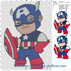 Captain America chibi cross stitch pattern