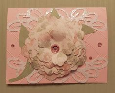 A2 Card Base - Anna Griffin Cuttlebug Embossing Folder - emboss the front of the card. Border - Paper Lace Cricut Cartridge, Leafy Branch - Artiste Cricut Cartridge, Flower - Mother's Day Bouquet Cricut Cartridge.