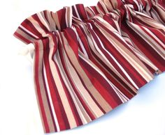 """RED Valance Curtain Red and Cream Stripes 43"""" Kitchen Curtain Kitchen Valance Curtains Kitchen Window Valance Red and Cream Valances by bananabunch on Etsy https://www.etsy.com/listing/75198749/red-valance-curtain-red-and-cream"""