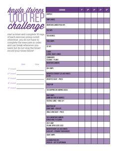 BBG Kayla Itsines 1000 Rep Challenge.