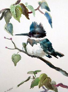 Belted Kingfisher, Original watercolor painting 9 X 12, original art bird lover