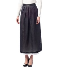 Look what I found on #zulily! Black Lace-Trim Maxi Skirt #zulilyfinds