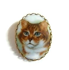 Vintage chat tigré camée broche broche, broche chat tigré Orange, Renaissance victorienne camée broche chat, Cat Portrait verre de lait animal chat bijoux