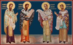 The Four Liturgists - St. James of Jerusalem, St. Basil the Great, St. John Chrysostom & St. Gregory Dialogos
