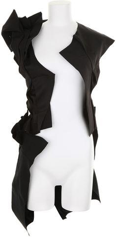 COMME DES GARÇONS: Asymmetrical Long Black Vest in Wool - Lyst