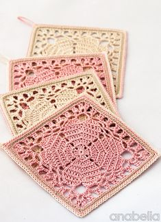 """Japanese crochet squares as coasters! Free pattern """"Japanese square crochet coasters: FREE pattern by Anabelia"""" Filet Crochet, Beau Crochet, Crochet Diy, Thread Crochet, Crochet Crafts, Crochet Projects, Crochet Cord, Crochet Flower, Knitting Projects"""