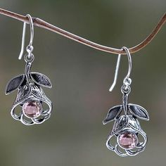 Floral Silver Earrings with Amethyst - Eternal Rose | NOVICA