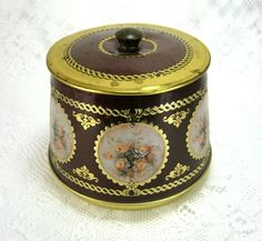 Tea Tin Round Barrel Floral Vignettes Tea Caddy Meister 1950s