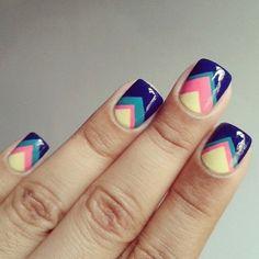 Stripes/Arrows Nail Art, purple, teal, peach, yellow