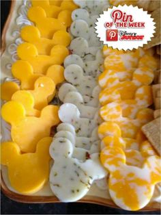 use cookie cutter on cheese to fit the party's theme
