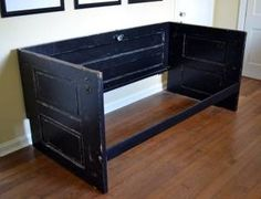 Painted Black Salvaged Doors Daybed Upcycled Shabby by dwellbeing Salvaged Doors, Old Doors, Murphy-bett Ikea, Horizontal Murphy Bed, Hideaway Bed, One Room Apartment, Modern Murphy Beds, Home Entertainment Centers, Pallets