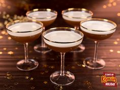 On the fifth day of holiday, Kahlúa gave to me… five golden rims. (Filled with our fave holiday spirit!)  INGREDIENTS: 2½ parts KAHLÚA  1 part fresh lemon juice 1 part egg white ½ part simple syrup  INSTRUCTIONS  In a cocktail shaker, dry shake the egg white (no ice) for about 1 minute. Add ice and the rest of the ingredients and shake. Strain in cocktail coupe and serve.