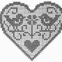 Image of Stitch Chart For Hear Filet Crochet Charts, Knitting Charts, Crochet Motif, Crochet Doilies, Crochet Patterns, Cross Stitching, Cross Stitch Embroidery, Cross Stitch Designs, Cross Stitch Patterns