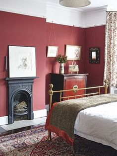 red walls victorian bedstead bedroom fireplace in a Victorian home Master bedroom perfection Bedroom Paint Colors Red Bedroom Walls, Red Bedroom Decor, White Bedroom Design, Bedroom Paint Colors, Red Walls, Bedroom Ideas, Master Bedroom, Bedroom Designs, Red Painted Walls