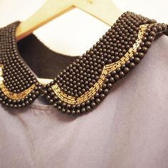Black Vintage Look Peter Pan Beaded Collar Detachable by vicphe