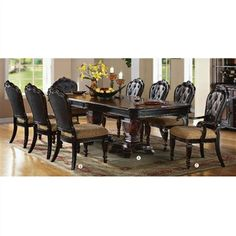 Le Havre Collection Dining Table 9 PC Set Two Tone Brown Antique