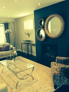 """three different sized """"cogs"""" featured by Designing Durham in recent project - supplied by Sears Whitby Whole Home Cogs, Durham, Decorating Ideas, Mirror, Projects, Furniture, Design, Home Decor, Log Projects"""