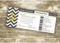 Nautical Themed Customizable Boarding Pass Invitation - Event type customizable!