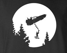 Back to the Future Delorian/Hoverboard Moon silhouette themed Vinyl Pressed T-shirt