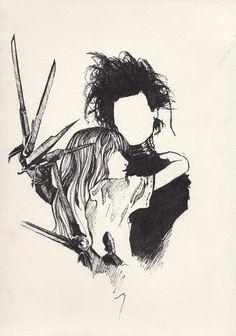 Imagem de edward scissorhands, johnny depp, and drawing