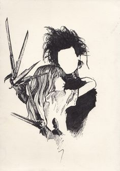 Imagem de edward scissorhands, johnny depp, and drawing