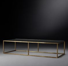 Nicholas Glass Coffee Table 60 x 24 x 14 brass