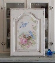 Shabby Romantic Vintage Style Bluebird and Roses Panel