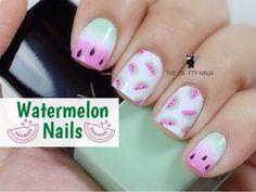Watermelon Nail Art Tutorial by The Crafty Ninja Diy Nail Polish, Diy Nails, Cute Nails, Manicure, Watermelon Nail Art, Fruit Nail Art, Acrylic Nail Designs, Nail Art Designs, Short Square Acrylic Nails