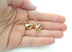 Gold heart earrings - Dangle gold earrings - everyday earrings - christmas gift on Etsy, ₪ Jewelry Design Earrings, Gold Earrings Designs, Gold Bangles Design, Gold Jewellery Design, Cute Stud Earrings, Heart Earrings, Fashion Necklace, Fashion Jewelry, The Bling Ring