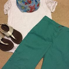 "Mint anyone? How about this for a fabulous color? These ankle pants will pop with pastels, navy, and more! Pair with sandals or try them with the coral wedge sandals and colorful 'traveler' jacket I'm selling. Inseam measures a little over 27"". Side to side at waist, they're 16.5"". Peck & Peck Pants Ankle & Cropped"