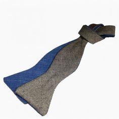Noeud Papillon à nouer en laine grise et laine bleue - Le Visionnaire - Oh My Node, le Noeud Papillon 100% made in France