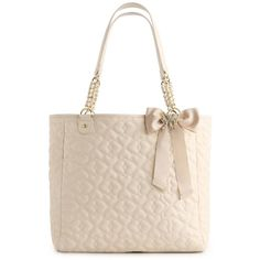 Betsey Johnson Quilted Love Tote ($80) found on Polyvore I love Betsy Johnson.... at the beginning of this school year I had bought a green Betsy Johnson bag that I was going to use as my backpack... but I spilled coffee on it