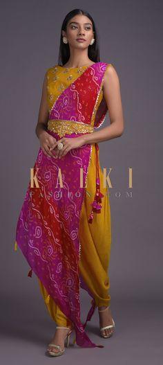Honey Yellow Dhoti Suit With Shaded Drape Having Bandhani Print Online - Kalki Fashion Dhoti Saree, Anarkali, Salwar Kameez, Indian Dresses, Indian Outfits, Indian Clothes, Lehenga Designs Latest, Bandhani Dress, Neckline Designs