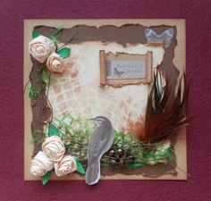 Rustic style card with a bird. Full tutorial for beginners http://madebysini.blogspot.com