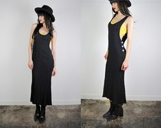 vintage dress 1990's goth grunge long black by youngandukraine, $36.00