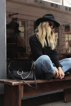 Cool hipster outfit with hats